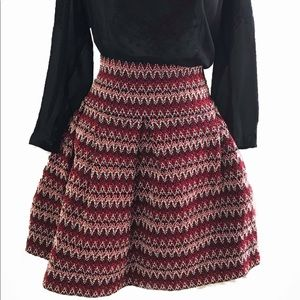 NWT Red Black White Structured H&M Skirt